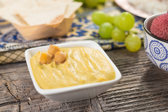 Homemade hummus with chickpeas - Stock Photo - Images