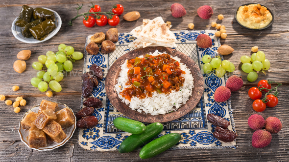 Ifthar evening meal for Ramadan - Stock Photo - Images