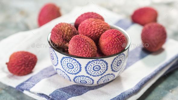 Fresh organic lychee fruit - Stock Photo - Images