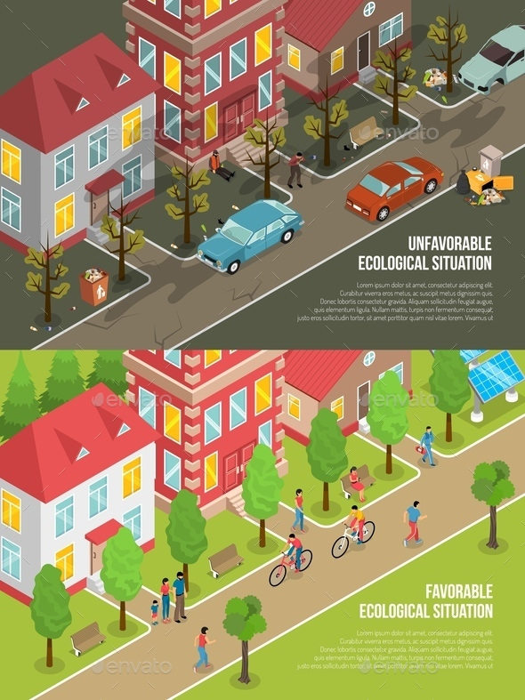 Environmental Situation Isometric Illustration - Flowers & Plants Nature