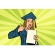 Female Graduate Points a Finger