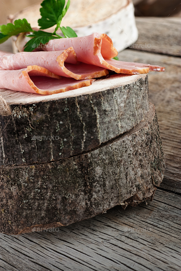 Ham on wood - Stock Photo - Images