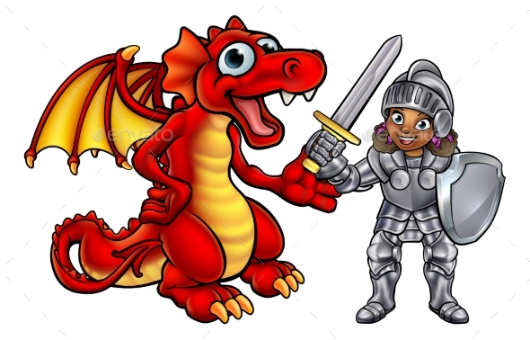 Dragon and Knight Cartoon Characters - Miscellaneous Vectors