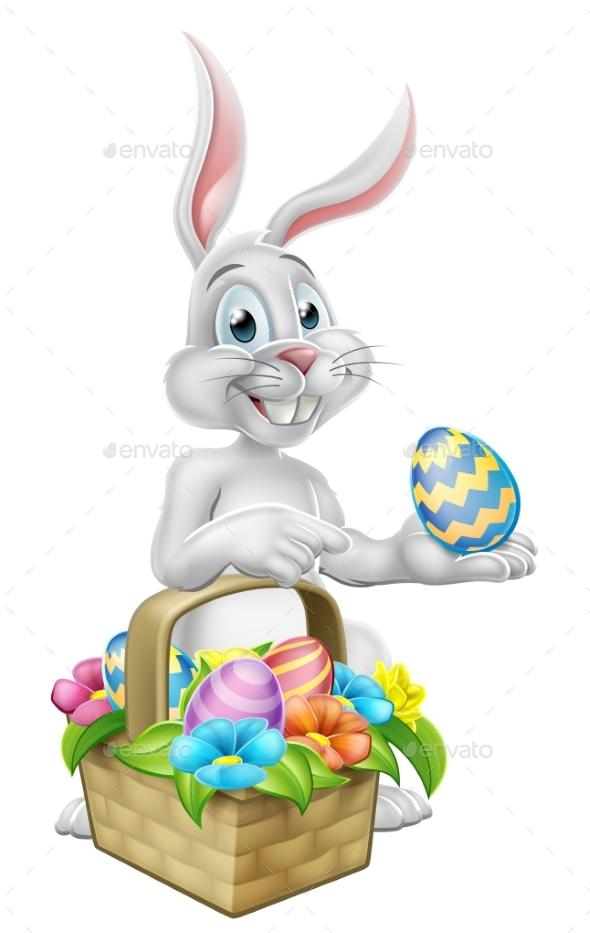 Easter Bunny Rabbit on Egg Hunt - Seasons/Holidays Conceptual