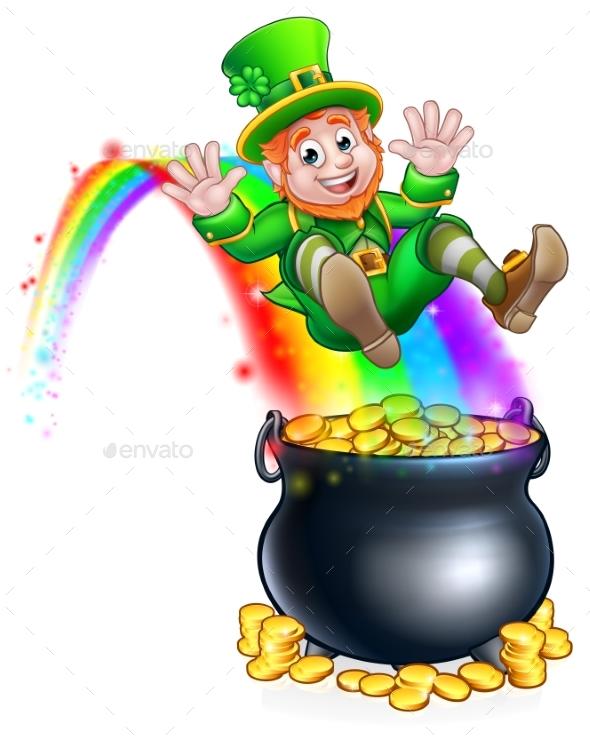 St Patricks Day Leprechaun Rainbow Pot of Gold by Krisdog ...