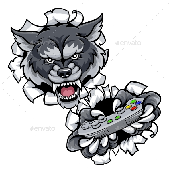 Wolf Esports Gamer Animal Mascot - Sports/Activity Conceptual