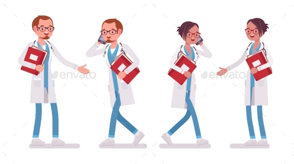 Male and Female Doctor with Paper and Phone. - Health/Medicine Conceptual