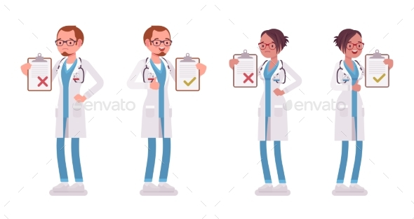 Male and Female Doctor with Clipboard - Health/Medicine Conceptual