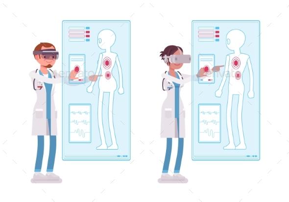 Male and Female Doctor Doing Vr Diagnostics - Health/Medicine Conceptual