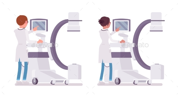 Male and Female Doctor Doing X-ray - Health/Medicine Conceptual