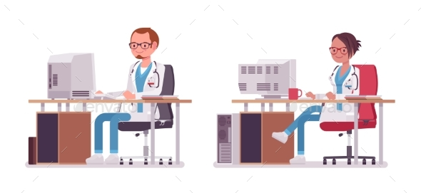 Male and Female Doctor Working at the Desk - Health/Medicine Conceptual