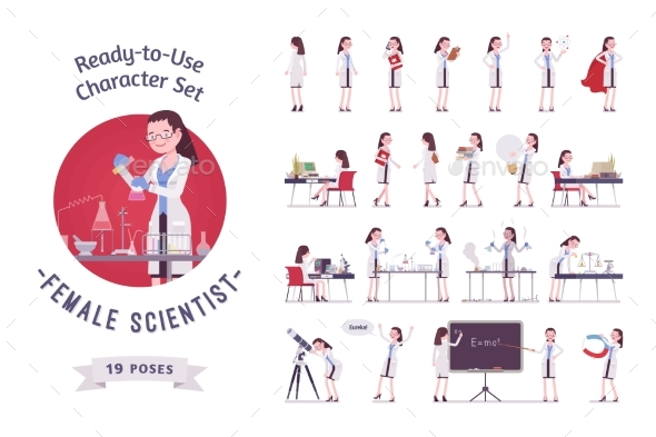 Female Scientist Ready-to-use Character Set - People Characters