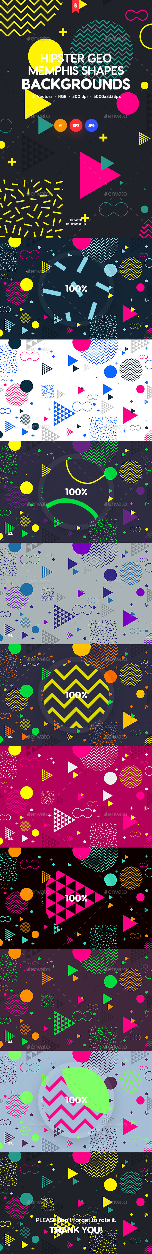 Abstract Hipster Geometric Shapes in Memphis Style Design Backgrounds - Patterns Backgrounds