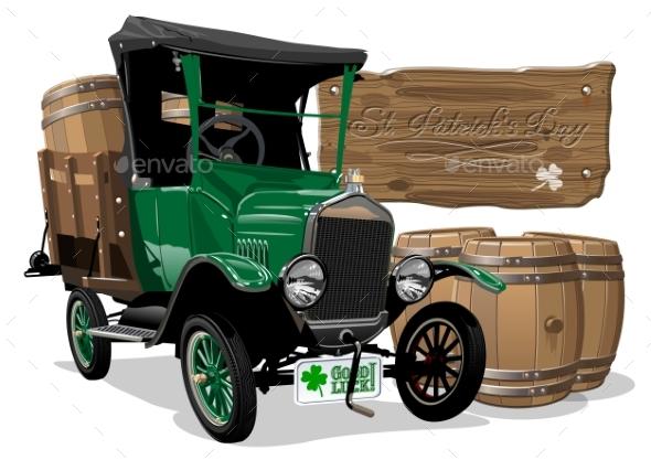 Vector Saint Patrick's Vintage Cartoon Beer Truck - Man-made Objects Objects