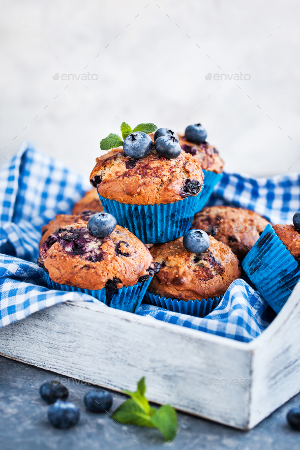 Fresh homemade delicious blueberry muffins - Stock Photo - Images