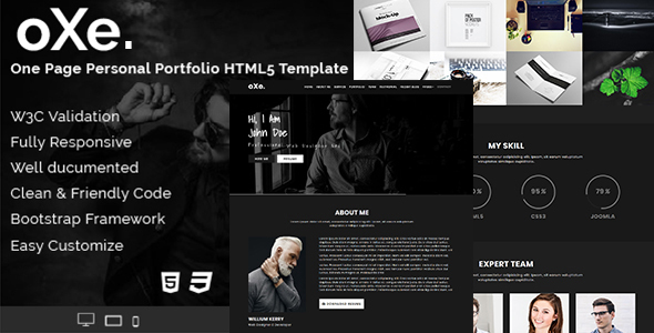 oXe. One Page - Responsive HTML5 Dark Personal Portfolio Template.