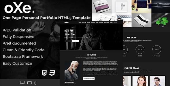 oXe. One Page - Responsive HTML5 Dark Personal Portfolio Template. - Portfolio Creative
