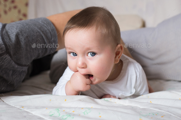 Portrait of cute newborn baby boy - Stock Photo - Images
