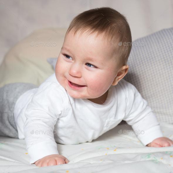 Portrait Of Cute Newborn Baby Boy Stock Photo By Ollinka Photodune