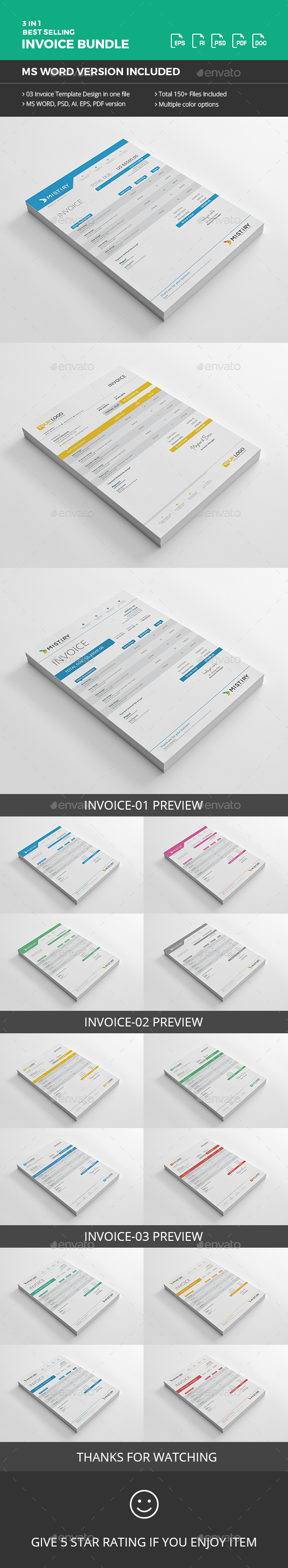 Invoice Bundle with MS Word - Proposals & Invoices Stationery