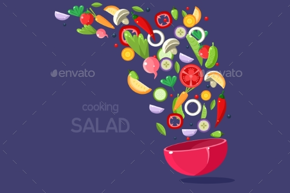 Fresh Vegetables Flying Into a Bowl, Cooking Salad - Food Objects