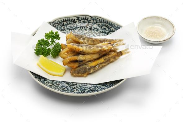 japanese fried fish dish, Mehikari No Karaage - Stock Photo - Images