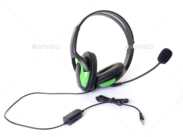 headphones with micro - Stock Photo - Images