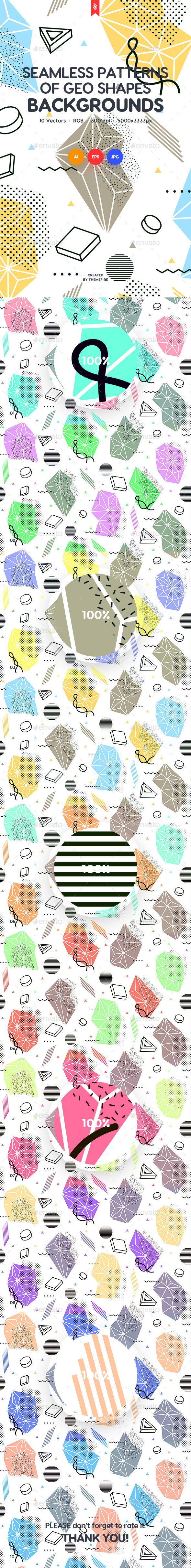 Seamless Patterns of Abstract Geo Shapes Backgrounds - Backgrounds Graphics