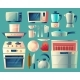 Vector Cartoon Set of Kitchen Appliances