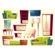 Vector Cartoon Set of Furniture - Sofa, Bed