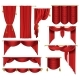 Vector 3d Realistic Set of Red Luxury Curtains