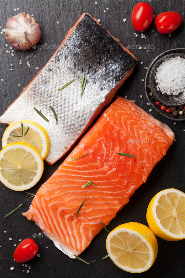 Raw salmon fish fillet - Stock Photo - Images