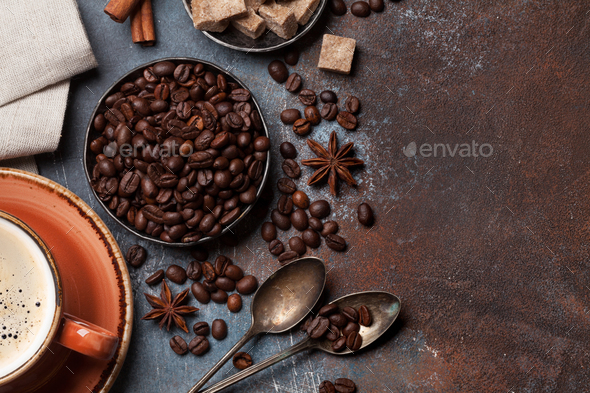 Coffee cup, beans, sugar and spices - Stock Photo - Images