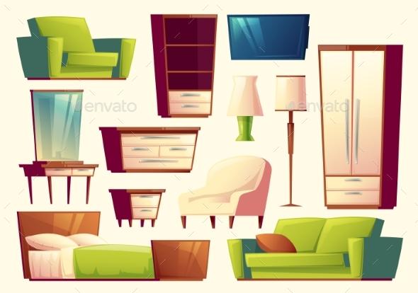 Vector Cartoon Set of Furniture - Sofa, Bed - Objects Vectors
