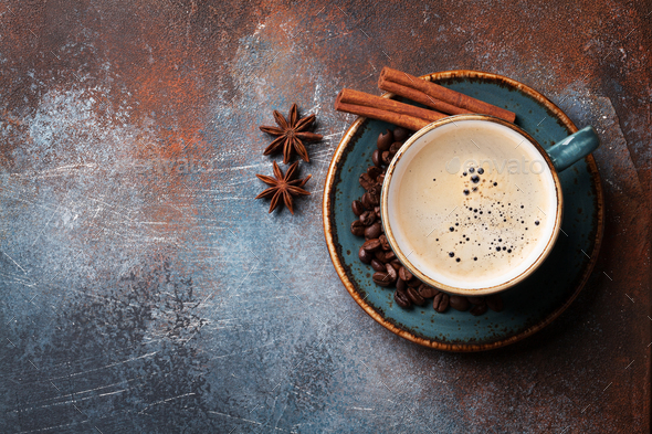 Coffee cup, beans and spices - Stock Photo - Images