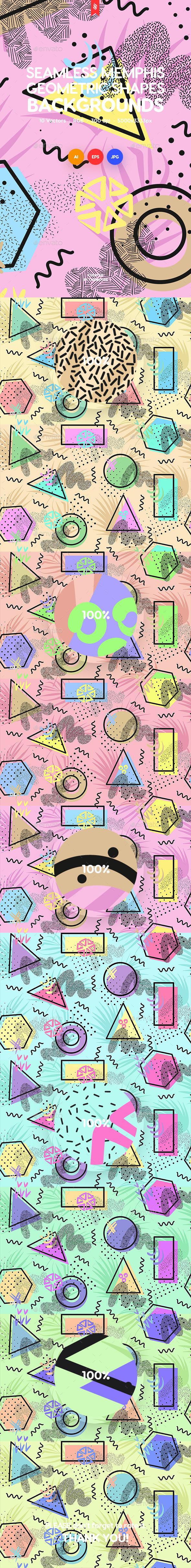 Seamless Memphis Patterns of Geometric Shapes Backgrounds - Patterns Backgrounds
