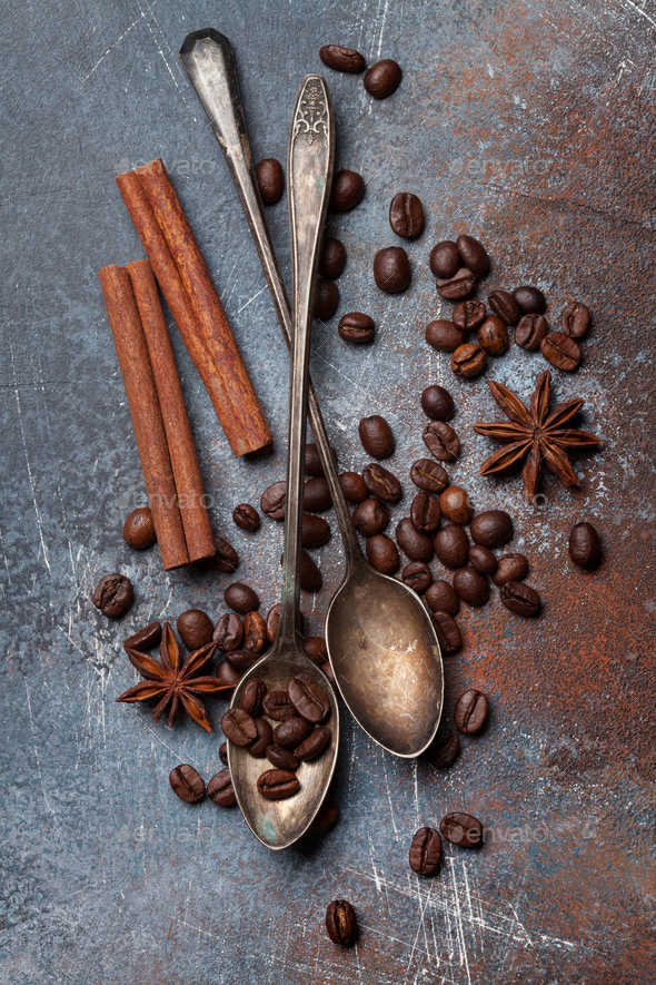 Coffee beans and spices - Stock Photo - Images