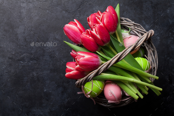 Red tulip flowers and Easter eggs - Stock Photo - Images