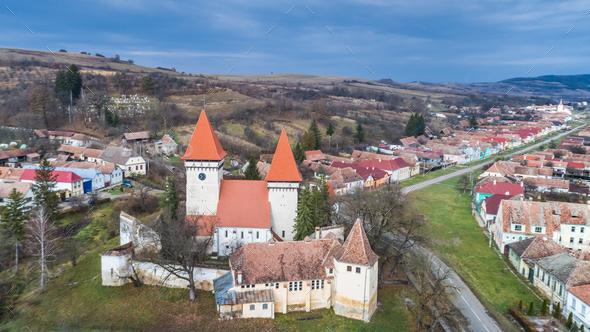 Dealu Frumos fortified church in Transylvania, Romania. - Stock Photo - Images