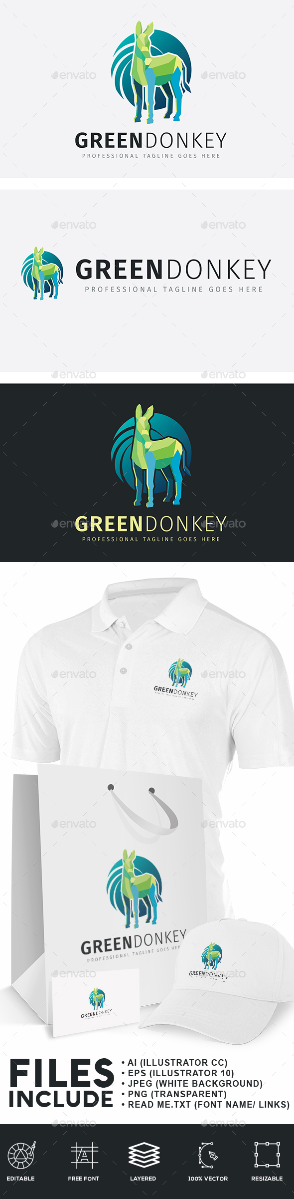 Green Donkey Logo - Animals Logo Templates