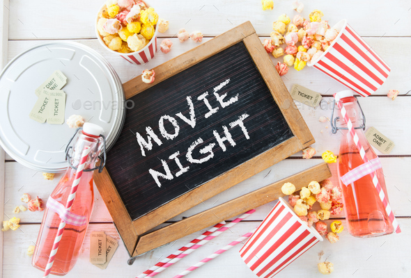 Movie night with popcorn - Stock Photo - Images