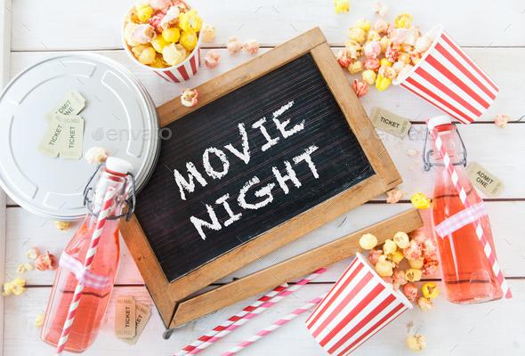 Movie night with popcorn - Stock Photo - Images