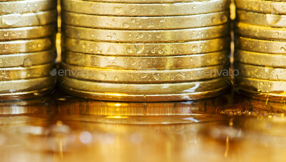 Business success - golden coins close-up - Stock Photo - Images