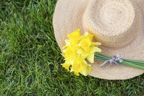 Easter daffodil flower on a straw hat - Stock Photo - Images