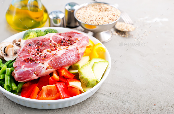 raw ingredients for dinner - Stock Photo - Images