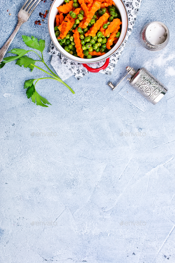 carrot with peas - Stock Photo - Images