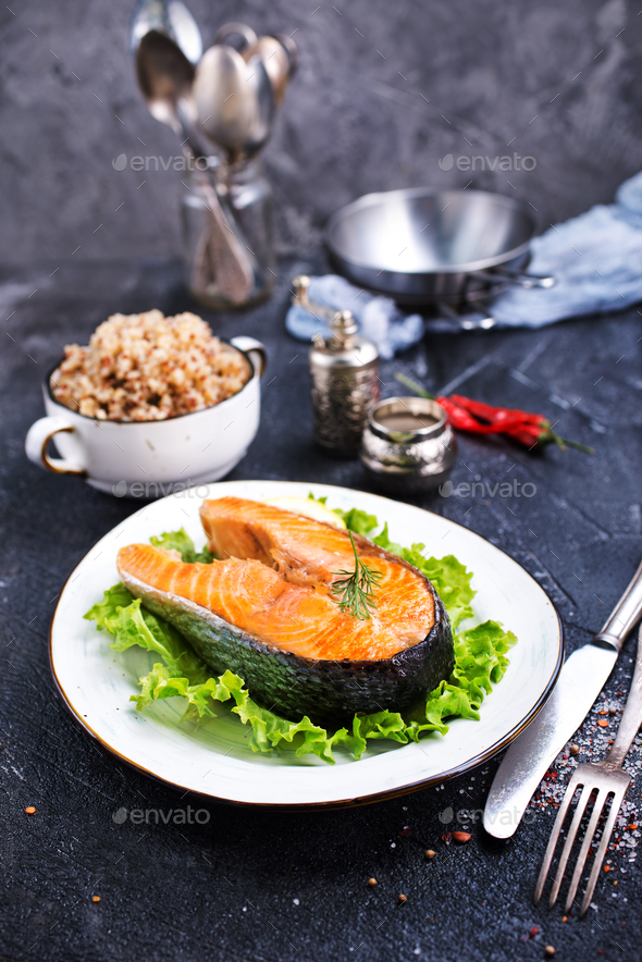 fried salmon - Stock Photo - Images