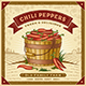 Retro Chili Pepper Harvest Label With Landscape - GraphicRiver Item for Sale