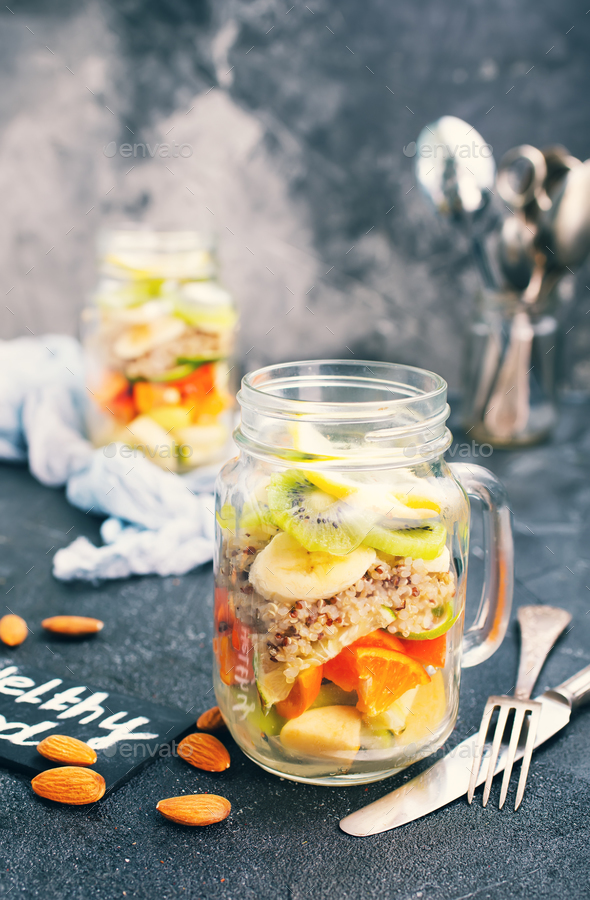 fresh salad in bank - Stock Photo - Images