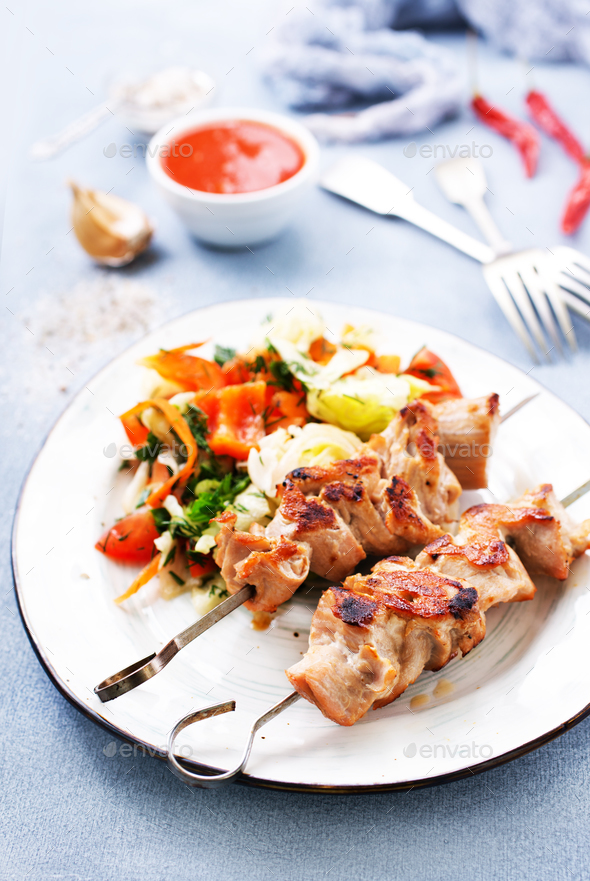 kebab from tuna - Stock Photo - Images